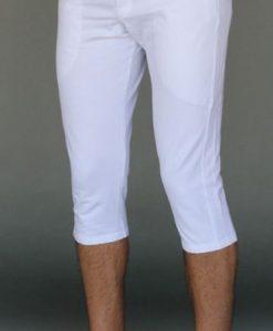 Men's Organic Cotton 4-way Stretch Kundalini White Capri Length Yoga Pant by Blue Lotus Yogawear. Pre-Shrunk, Easy Care, Made in USA.