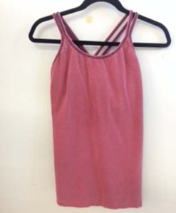 Organic Cotton Double Cross Back Cami with Built-in Bra- Cranberry by Blue Lotus Yogawear