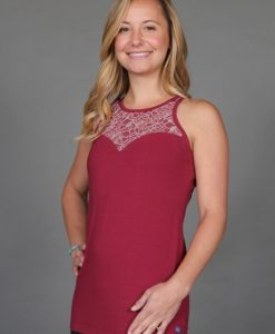 Organic Cotton Lace Yoke Cami with Built in Bra - Wine by Blue Lotus Yogawear