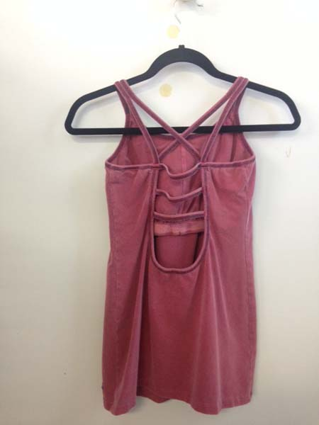 Organic Cotton Caged Back Cami with Built-in Bra- Cranberry by Blue Lotus Yogawear