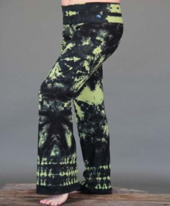 Organic Cotton Tie Dye Foldover Waist Yoga Pant - Lime/Black by Blue Lotus Yogawear. Pre-shrunk, Easy Care, Made in USA
