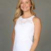 Organic Cotton Lace Yoke Cami Built-in Bra - Kundalini White