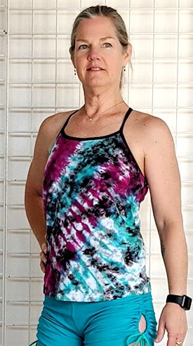 Multi Color Tie-dye Y- Back Cami with Inside Bra by Blue Lotus Yogawear