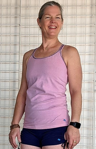 Organic Cotton Caged Back Cami with Built-in Bra- Pink by Blue Lotus Yogawear