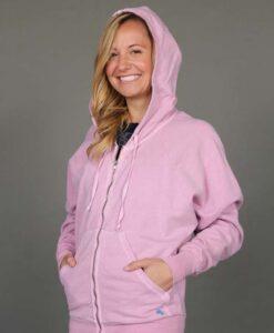 Zip Front Fleece Hoodie - Distressed Pink by Blue Lotus Yogawear