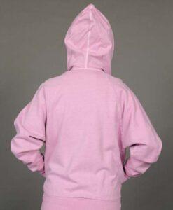 Zip Front Fleece Hoodie - Distressed Pink Back by Blue Lotus Yogawear