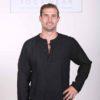 Men's Linen Long Sleeve Guru Shirt - Black by Blue Lotus Yogawear
