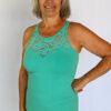 Organic Cotton Lace Yoke Cami Built in Bra - Aqua by Blue Lotus Yogawear