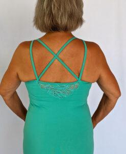 Organic Cotton Lace Yoke Cami Built in Bra - Aqua Bac by Blue Lotus Yogawear