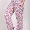Printed Cotton Elastic Shirred Yoke Harem Pant- Pink Floral by Blue Lotus Yogawear