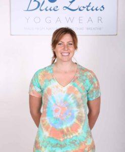100% Cotton Spiral Tie Dye OM Yoga Tee- Jade-Coral