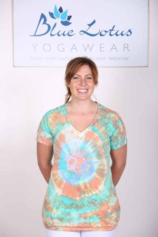 100% Cotton Spiral Tie Dye OM Yoga Tee- Jade-Coral by Blue Lotus Yogawear