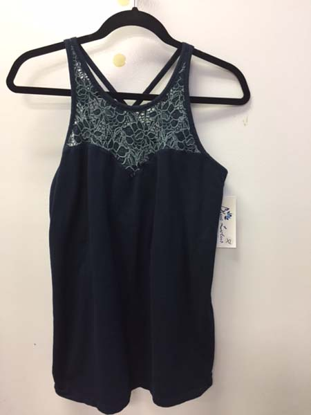 Organic Cotton Lace Yoke Cami with Built-in Bra - Navy by Blue Lotus Yogawear