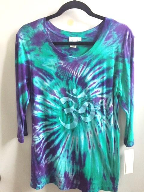 Bamboo/Organic Cotton-OM Spiral Tie Dye- 3/4 Slv Yoga Tee by Blue Lotus Yogawear