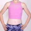 Organic Cotton Lace Yoke Tankini - Pink by Blue Lotus Yogawear