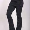 Organic Cotton Skirt Over Flare Leg Yoga Pant - Black