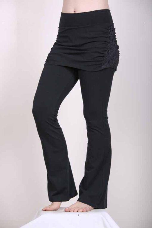 Organic Cotton Skirt Over Flare Leg Yoga Pant - Black by Blue Lotus Yogawear