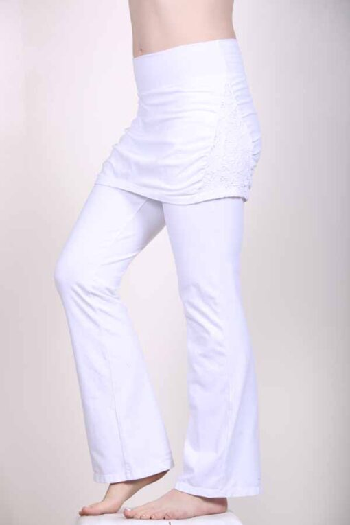 Organic Cotton Skirt Over Flare Leg Yoga Pant - Kundalini White by Blue Lotus Yogawear