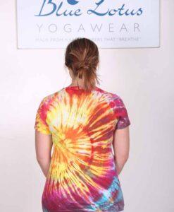 100% Cotton Spiral Tie Dye Yoga Tee- Malibu Sunset Back by Blue Lotus Yogawear