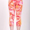 Organic Cotton Crop Yoga Legging - Red Yellow Crystal Dye back by Blue Lotus Yogawear