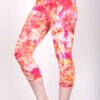 Organic Cotton Crop Yoga Legging - Red Yellow Crystal Dye by Blue Lotus Yogawear