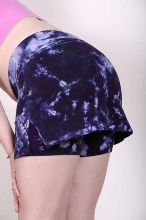 Organic Cotton Mini Skort - Purple Tie Dye back, by Blue Lotus Yogawear