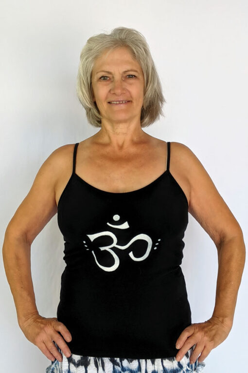 Organic Cotton Om Print Cami with Adjustable Straps by Blue Lotus Yogawear