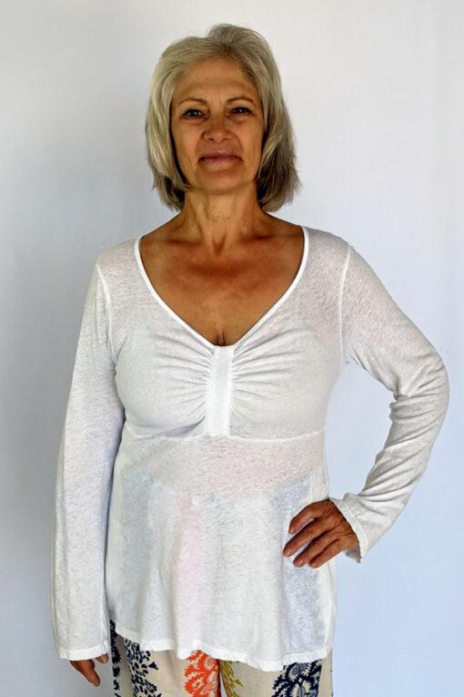 Light Weight Cotton Empire Waist Sweater - Ivory by Blue Lotus Yogawear
