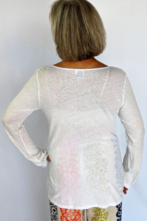Light Weight Cotton Empire Waist Sweater - Ivory Back view