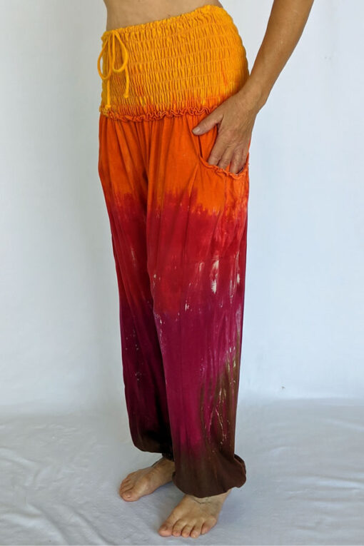 Organic Cotton Smocked Waistband Harem Pant-Red Orange Tie Dye by Blue Lotus Yogawear