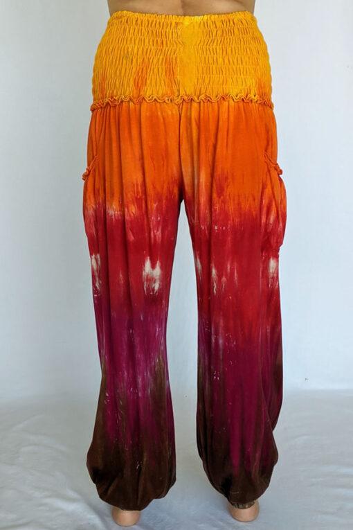 Organic Cotton Smocked Waistband Harem Pant-Red Orange Tie Dye Back
