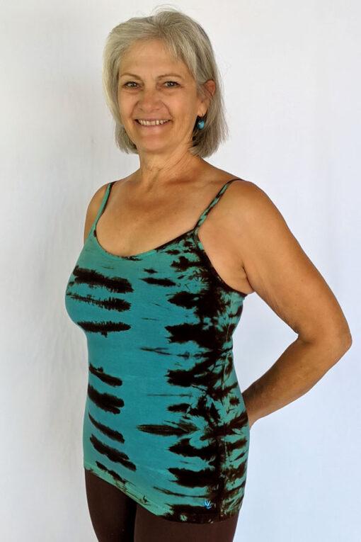 Organic Cotton Tie Dye Cami with Adjustable Straps- Jade/Brn by Blue Lotus Yogawear
