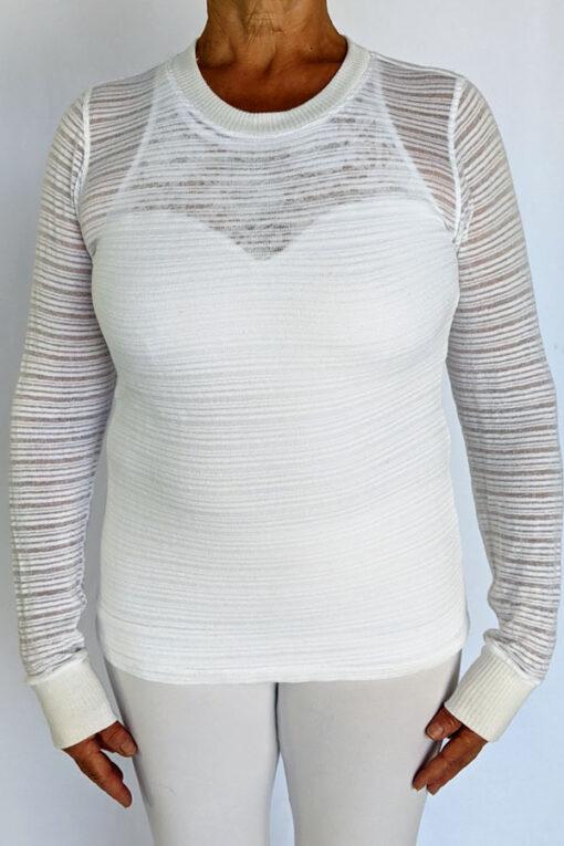 Light Weight Cotton Novelty Stripe Sweater - Kundalini White by Blue Lotus Yogawear