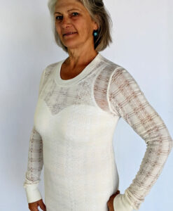 Light Weight Cotton Novelty Plaid Sweater - Ivory by Blue Lotus Yogawear