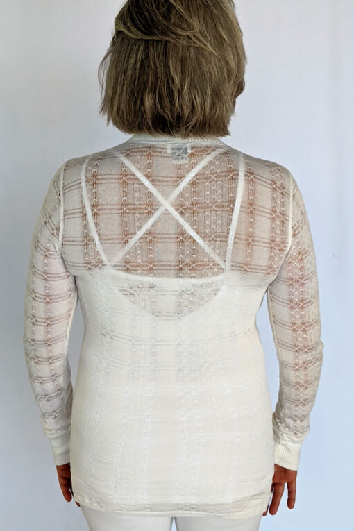 Light Weight Cotton Novelty Plaid Sweater - Ivory Back by Blue Lotus Yogawear