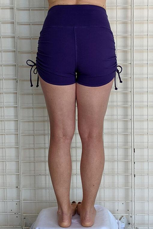 """Brazilian Butt Lift"" Yoga Short- Purple Organic Cotton Back by Blue Lotus Yogawear"