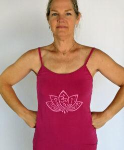 Organic Cotton Lotus Cami with Adjustable Straps- Fuschia by Blue Lotus Yogawear