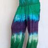 Organic Cotton Smocked Waistband Harem Pant-Turq Purple Tie Dye by Blue Lotus Yogawear