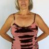 Organic Cotton Tie Dye Cami with Adjustable Straps- Coral/Brn by Blue Lotus Yogawear