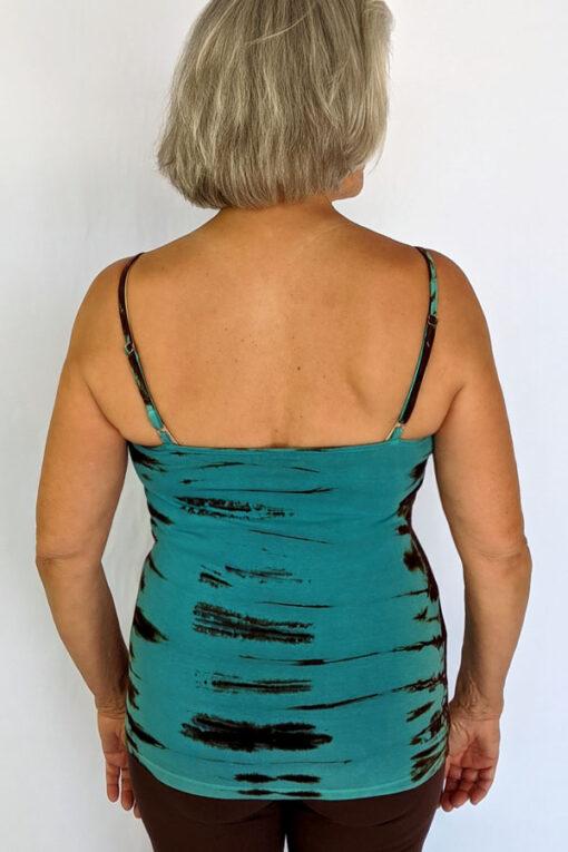 Organic Cotton Tie Dye Cami with Adjustable Straps- Jade/Brn back