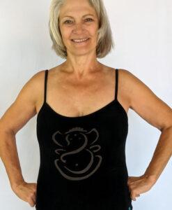 Organic Cotton Ganesha Cami with Adjustable Straps- Black by Blue Lotus Yogawear