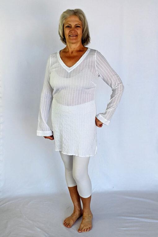 Gauze Long Sleeve Tunic Dress - Kundalini White by Blue Lotus Yogawear