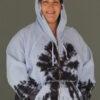 Tie Dye Zip Front Fleece Hoodie - Serenity Blue by Blue Lotus Yogawear