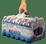 lot de bouteilles d'eau emballées sous film imprimé avec poignée de transport