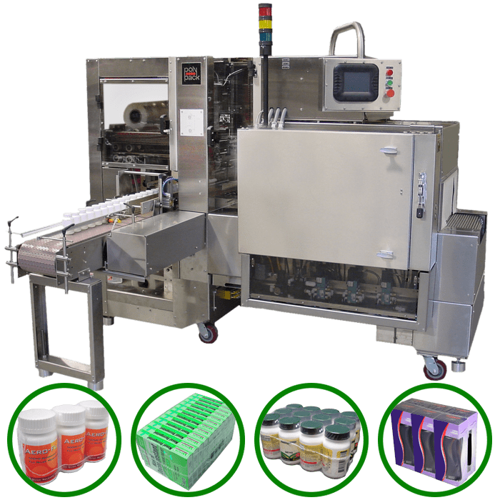 Compact shrink wrapper designed for collating and wrapping pharmaceutical products.