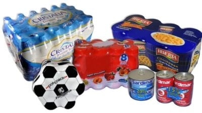 Exemples de lots emballés sous film imprimé avec lunule
