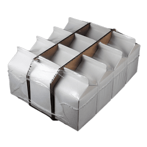 Bullseye shrink wrapped gable top cartons with risers
