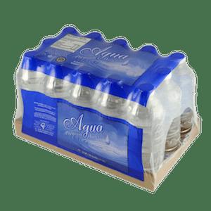 bouteilles regroupées dans une barquette en carton puis emballées sous film imprimé