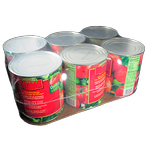 food cans on cardboard pad support with shrink film