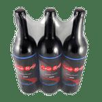 bouteilles avec l'étiquette orientée regroupées sous film